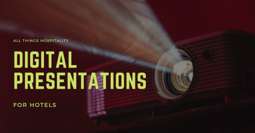 """projector with overlay text """"Digital Presentations for hotels"""""""