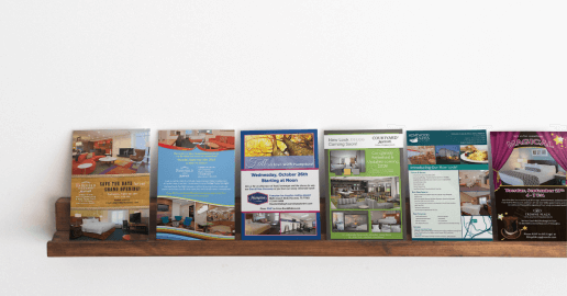 hotel renovation rack cards on a shelf