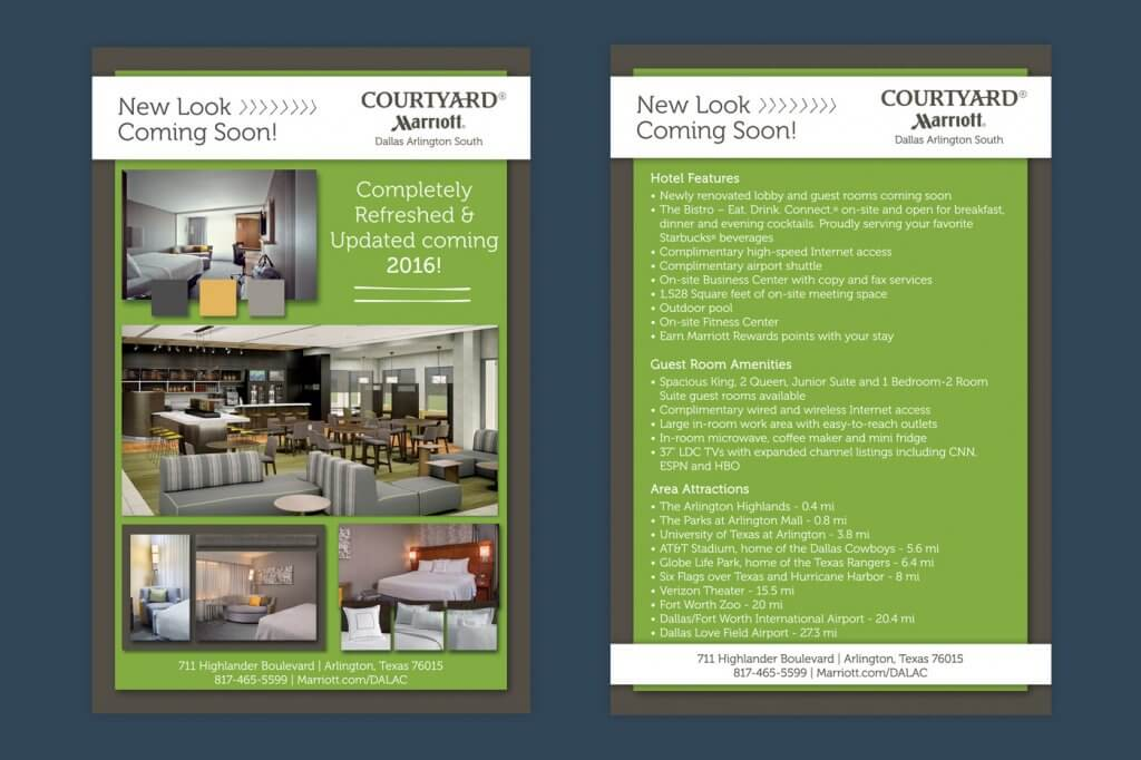 Courtyard Marriott hospitality renovation marketing flyer