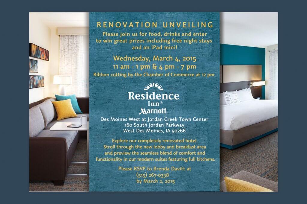 residence inn hotel renovation marketing flyer