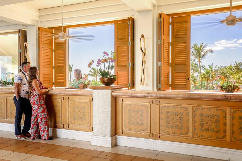 Hotel Front Desk at Hawaiian Resort