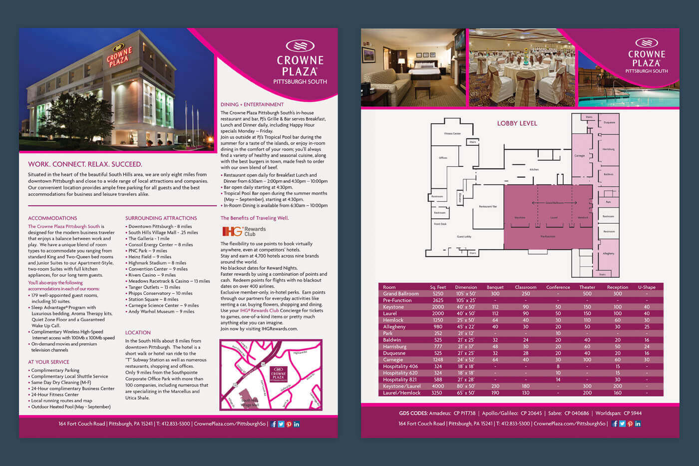 Print Collateral - Crowne Plaza Pittsburgh South Factsheet