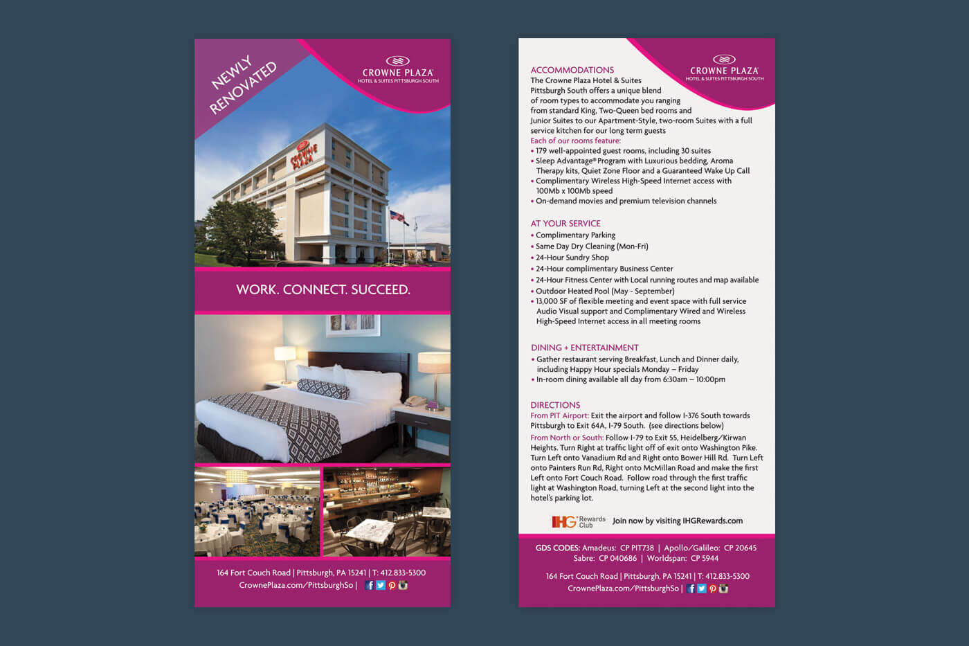 Marketing Collateral - Crowne Plaza Pittsburgh South Rackcard