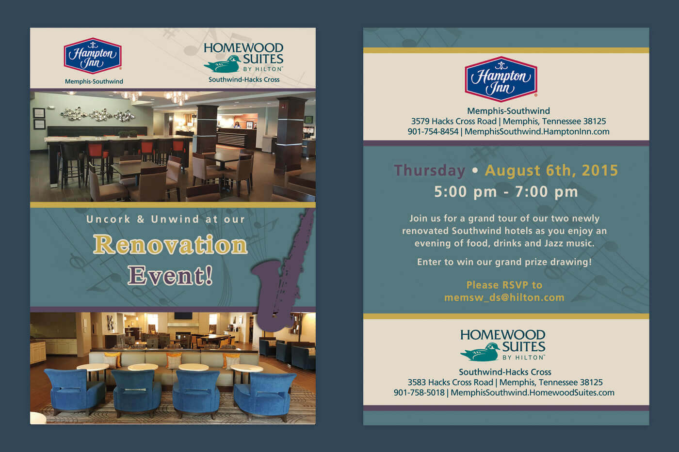 Print Collateral - Hampton Inn Memphis-Southwind Invite | Homewood Suites Southwind-Hacks Cross