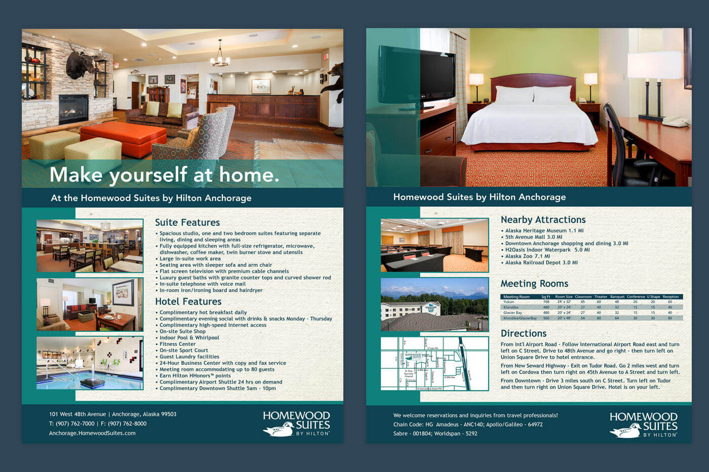 Print Collateral Advertising - Homewood Suites Anchorage Brochure