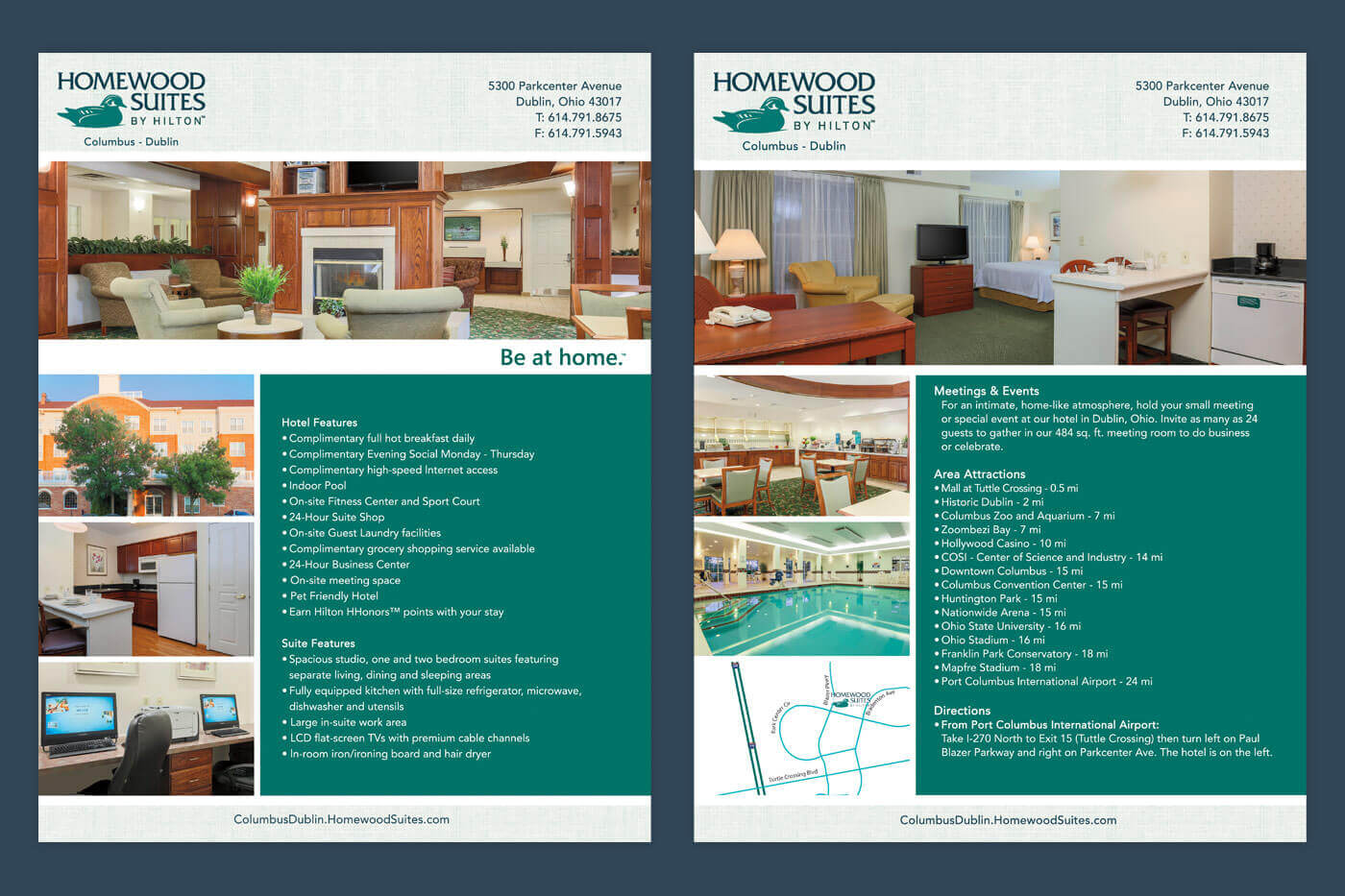 Print Design Factsheet - Homewood Suites Columbus-Dublin