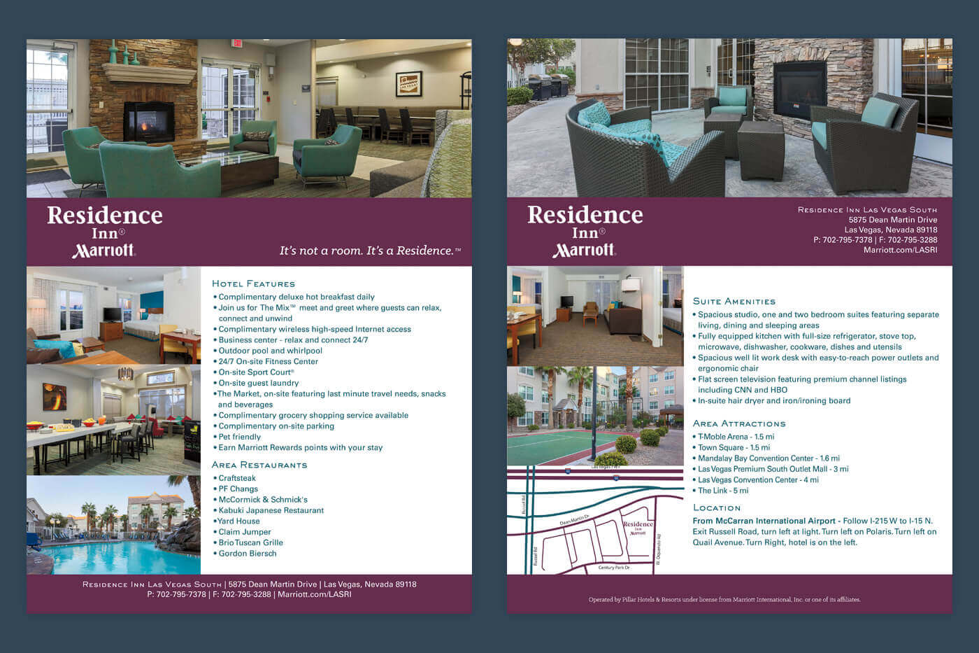 Factsheet design - Residence Inn Las Vegas South